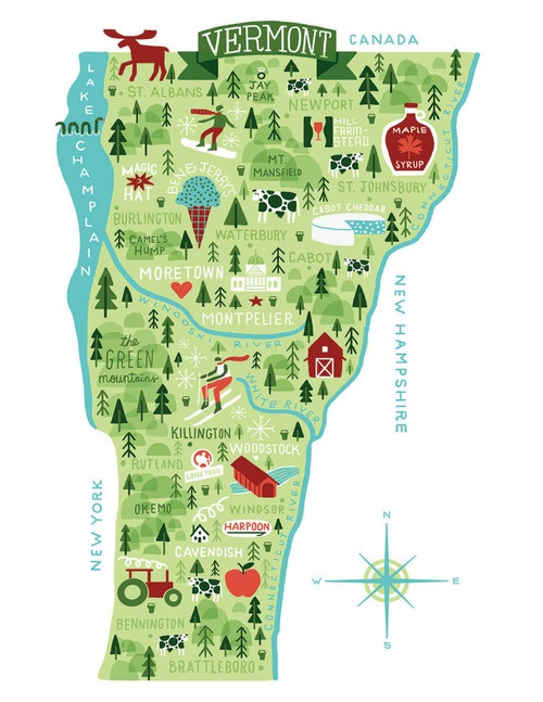 Illustrated Map of Vermont