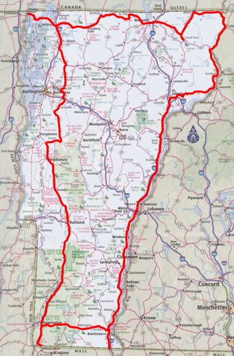 Vermont Four Corners Ride Map
